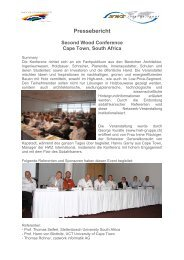 Pressebericht Second Wood Conference Cape Town, South Africa