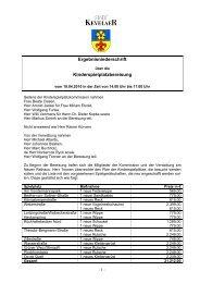 Ergebnisniederschrift der Kinderspielplatzbereisung - Stadt Kevelaer