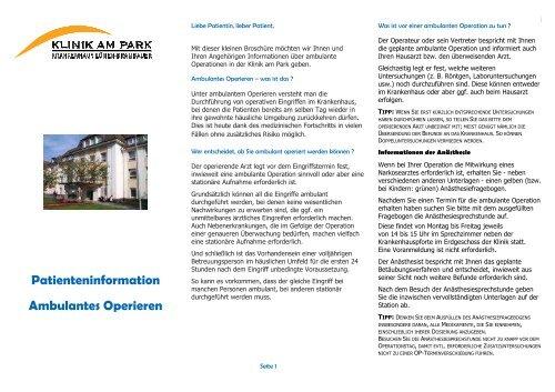 Patienteniformation Ambulante OPs Hier erhalten Sie Informationen zu