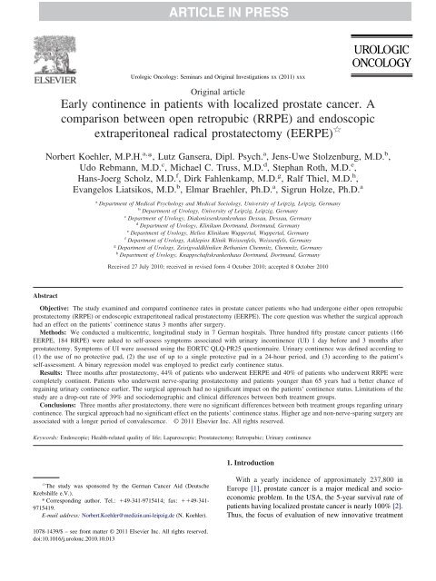 Early continence in patients with localized prostate cancer. A ...