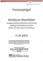 Pressespiegel 11.10.2012 - Knappschaftskrankenhaus Dortmund
