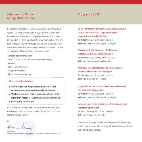 Selbsthilfegruppe für Lungenkrankheiten - Programm 2010 PDF 127,8