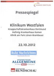 Pressespiegel 22.10.2012 - Knappschaftskrankenhaus Dortmund
