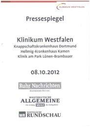 Pressespiegel 08.10.2012 - Knappschaftskrankenhaus Dortmund
