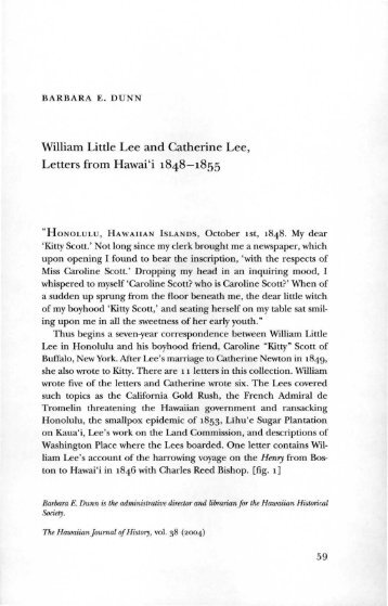 William Little Lee and Catherine Lee, Letters from Hawai'i ... - eVols