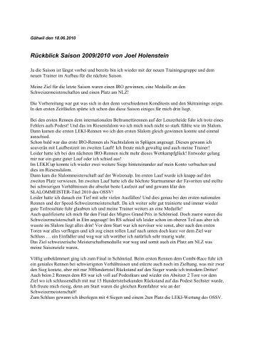 Rückblick Saison 2009/2010 von Joel Holenstein - TG Wolzen