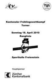 Gesamtrangliste Freienstein Turner - Turnverein Urdorf