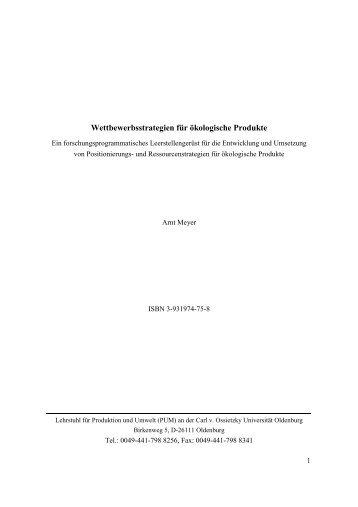 Wettbewerbsstrategien für ökologische Produkte - Produktion und ...