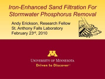 Iron-Enhanced Sand Filtration For Stormwater Phosphorus Removal