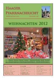 weihnachten 2012 - der Pfarre Haag am Hausruck