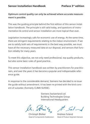 Sensor Installation Handbook Preface 3rd edition - Siemens ...