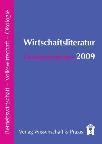 Wirtschaftsliteratur Gesamtverzeichnis 2009 - Verlag Wissenschaft ...