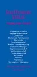 Gesamtverzeichnis 2010/2011 Brigitte Narr GmbH - Stauffenburg ...
