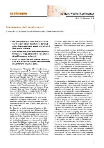 04.12.2012 Schuldenerlass als Ei des - Assenagon