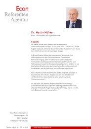 Dr. Martin Hüfner - Econ Referenten-Agentur