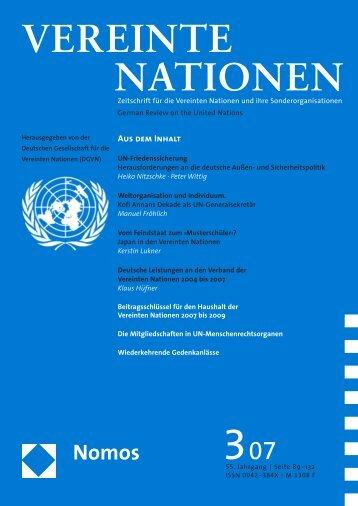 Heft 3/2007 - Deutsche Gesellschaft für die Vereinten Nationen eV