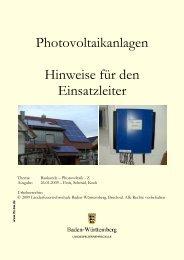Einsatzhinweise zu Photovoltaikanlagen - Unfallkasse Baden ...