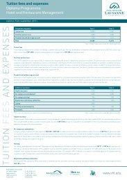 Tuition fees and expenses - Ecole Hôtelière de Lausanne