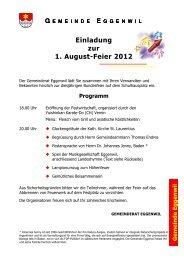 Einladung zur 1. August-Feier 2012 - Eggenwil