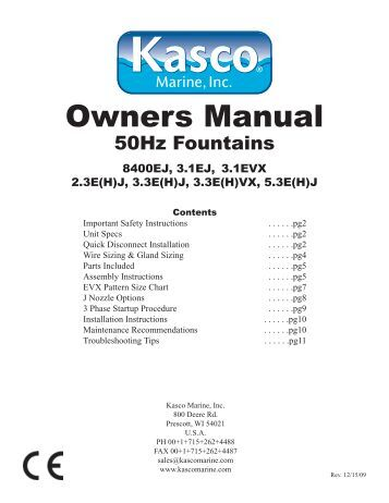 50 hz large fountain manual English.indd - Kasco Marine, Inc.
