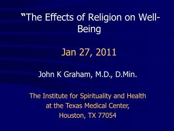 Effect of Religion on the Sense of Well - Institute for Spirituality and ...