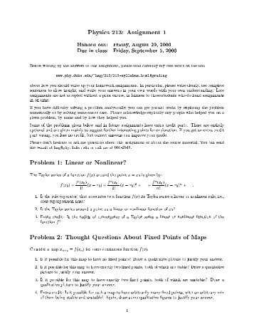 Physics 213: Assignment 1 Handed out: Friday ... - Duke Physics