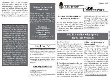 12 Tipps für das Studium - Juso Hochschulgruppe Hannover