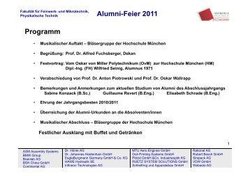 Alumni-Feier 2011 Programm - Fakultät 06 - Hochschule München