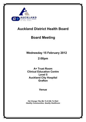 15 February 2012 - Auckland District Health Board