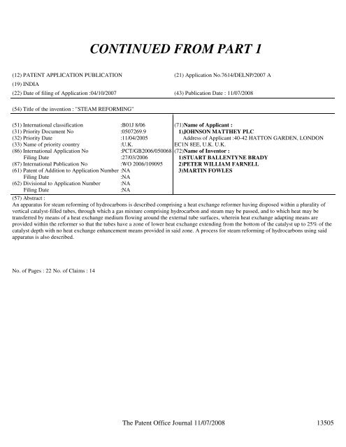 Continued From Part 1 Controller General Of Patents Designs
