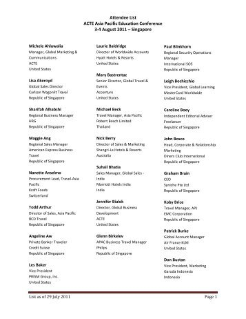 Attendee List ACTE Asia Pacific Education Conference 3-4 August ...
