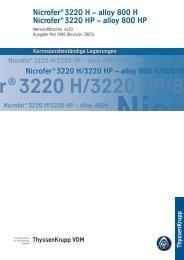 alloy 800 H / Nicrofer® 3220 HP - ThyssenKrupp VDM