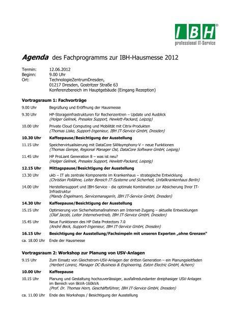 Agenda - bei der IBH IT-Service GmbH