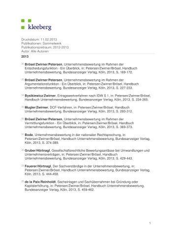 Druckdatum: 30.01.2013 Publikationen: Sammelwerk ... - Kleeberg