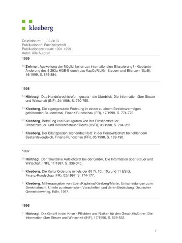 Druckdatum: 30.01.2013 Publikationen: Fachzeitschrift ... - Kleeberg