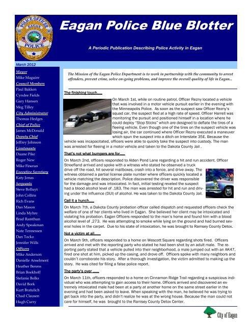 Eagan Police Blue Blotter - City of Eagan