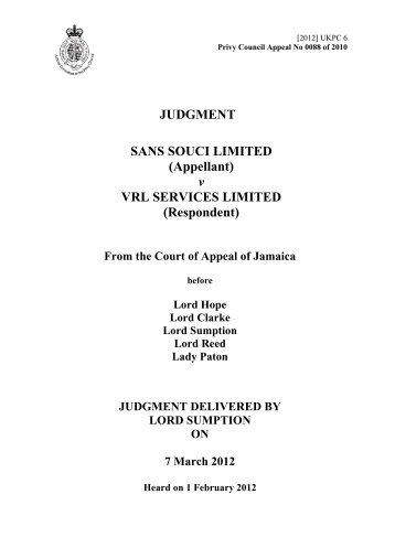 Sans Souci Limited v VRL Services Limited - Judicial Committee of ...