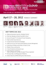 April 17 – 20, 2012 MUNICH I GERMANY - KuppingerCole