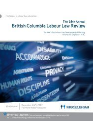 18th Annual British Columbia Labour Law Review