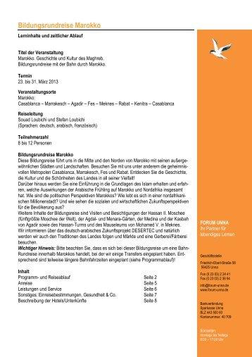 Geplanter Programmablauf und Infos Bildungsreise Marokko - forum unna