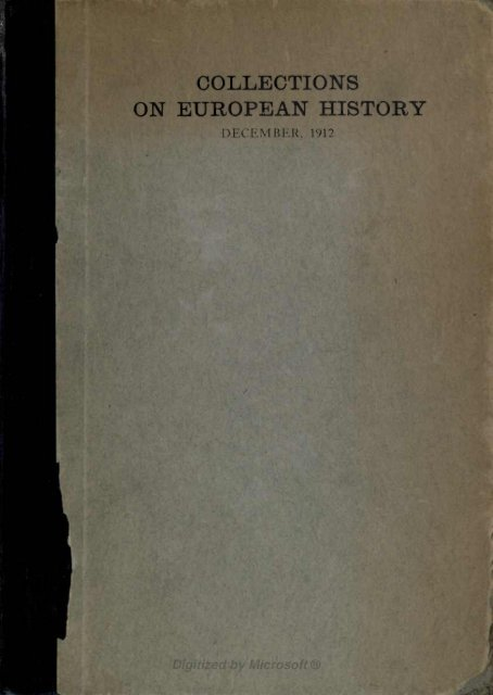 ON EUROPEAN HISTORY - Index of