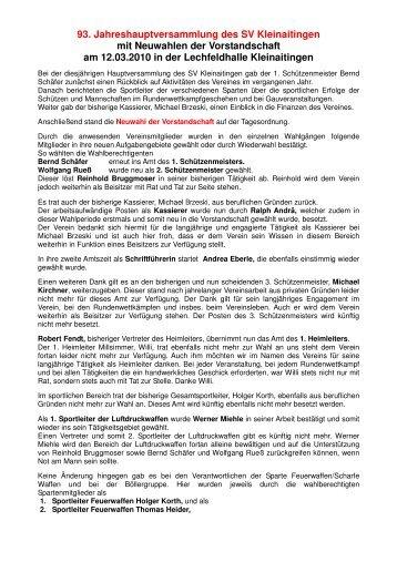 Jahreshauptversammlung mit Neuwahlen 2008 - Die Roseninsel
