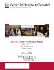 Brand Management Roundtable Program - Cornell School of Hotel ...