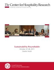 Sustainability Roundtable - Cornell School of Hotel Administration ...