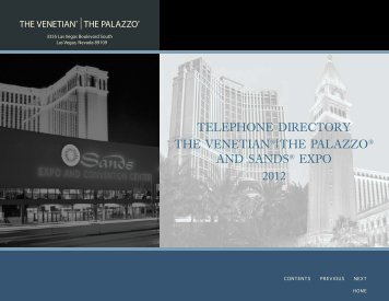 TELEPHONE DIRECTORY THE VENETIaN®|THE PaLazzO aND ...