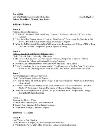 Tentative Schedule of Conference Sessions on - The Philip Roth ...