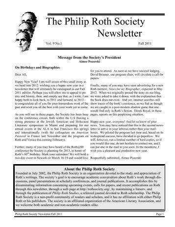 ciety The Philip Roth Society Newsletter