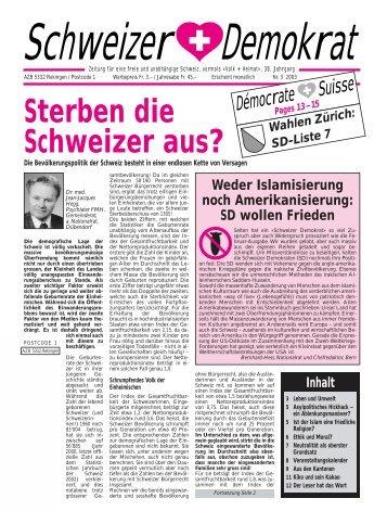 Sterben die Schweizer aus? - Schweizer Demokraten SD