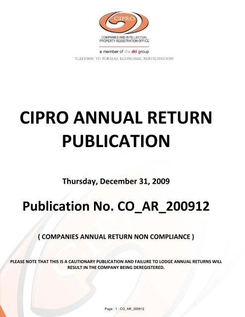 Cipro Annual Return Publication Thursday December 31