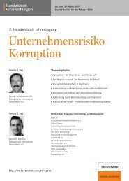2. Handelsblatt Jahrestagung Unternehmensrisiko Korruption